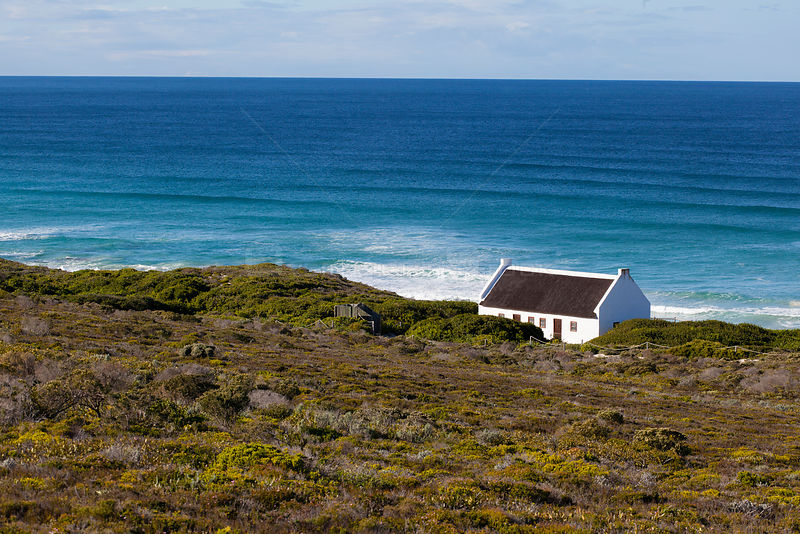 House above sea, fynbos habitat,   De Hoop Nature Reserve, Western Cape, Overberg, South Africa. June 2013.
