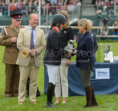 Piggy French, prize giving, Land Rover Burghley Horse Trials 2017