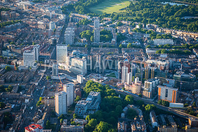 Aerial view of London Edgware Road towards towards Marble Arch and   Hyde Park, Paddington.