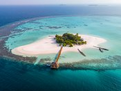 Drone view of a tropical island in the Maldives
