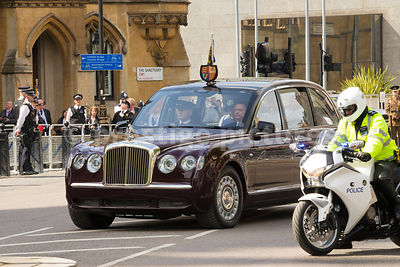 The Queen's State Bentley arrives at Westminster Abbey