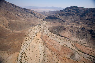 Aerial view of a dry river bed in Himba area of Kaokoland, Namibia