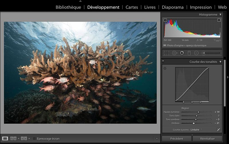 The post-treatment of an underwater photography: Part 1