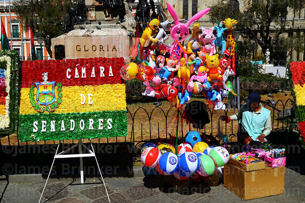 Stall selling inflatable toys for children next to floral tributes for 16th July uprising anniversary celebrations, Plaza Murillo, La Paz, Bolivia