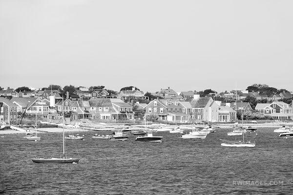 NANTUCKET ISLAND SAILBOATS BLACK AND WHITE