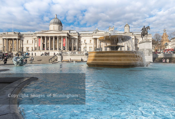 The National Gallery in Trafalgar Square, London, England