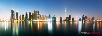 Dubai cityscape at dusk, United Arab Emirates