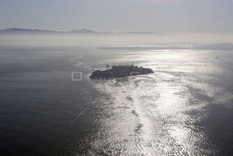 Morning mist over Alcatraz, San Francisco Bay, California. April 2006.