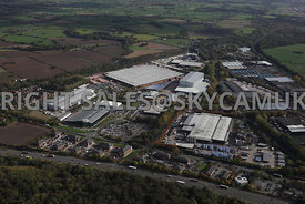 Runcorn high level aerial photograph of Whitehouse Industrial Estate showing the M56 motorway running towards the east