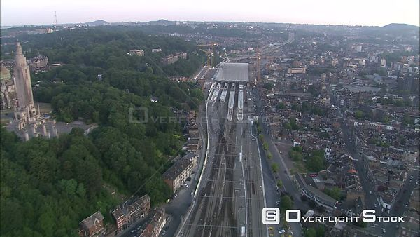 Flying past train station under construction in Liege, Belgium