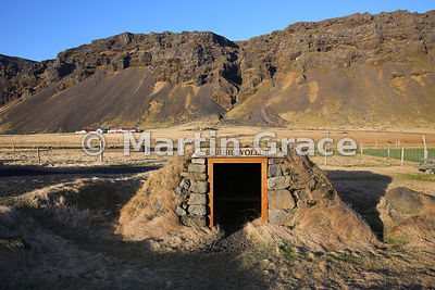 Roadside shelter at Saudhusvollur, southern Iceland, known as the Shed.