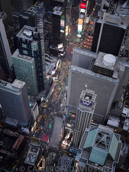 Aerial photograph of Times Square in the evening.