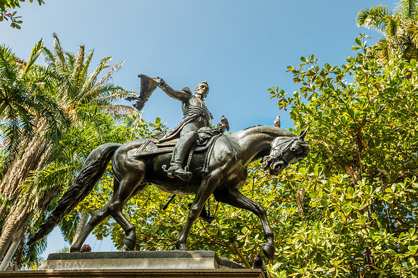 Statue of Simon Bolivar on a horse in Cartagena, Colombia