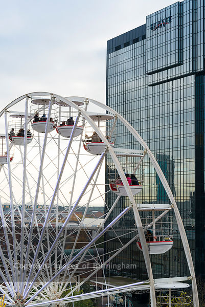 The ferris wheel and Hyatt Hotel, Centenary Square, Broad Street, Birmingham, England.