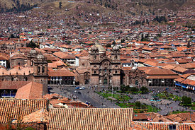 View of  Plaza de Armas with cathedral (L) and La Compañia de Jesus church and convent (R), Cusco, Peru