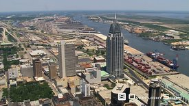 Close flight past RSA Battle House Tower in Mobile, Alabama.