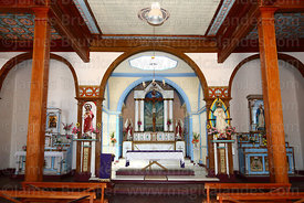 Interior of church of the Holy Redeemer / Santísimo Redentor in Huara, Region I, Chile