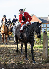 Major Tim Brown at the meet. The Cottesmore Hunt at Tilton