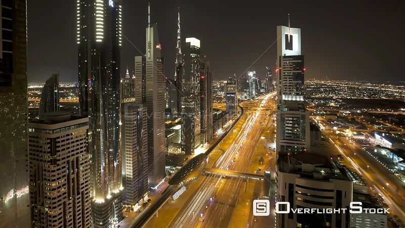 Timelapse of traffic at night on Sheikh Zayed Road, Dubai, United Arab Emirates, 2011.