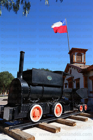 Black, Hawthorn & Co 0-4-0 steam engine number 895 in front of former railway station , Copiapó , Region III , Chile