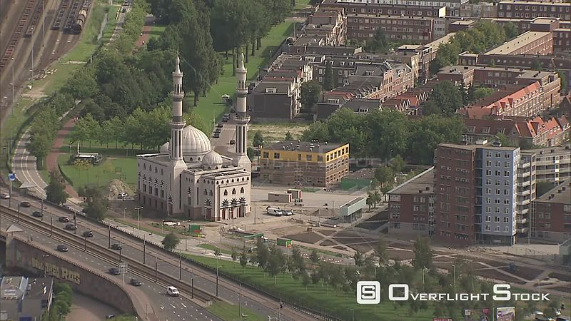 Approaching Essalam Mosque in Rotterdam, The Netherlands
