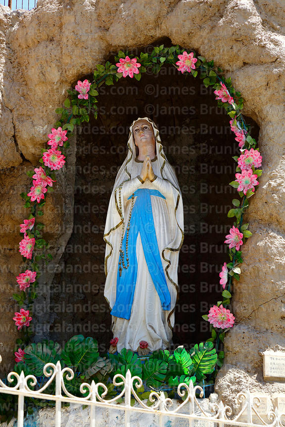 Statue of Virgen de Lourdes in grotto, Arica, Region XV, Chile