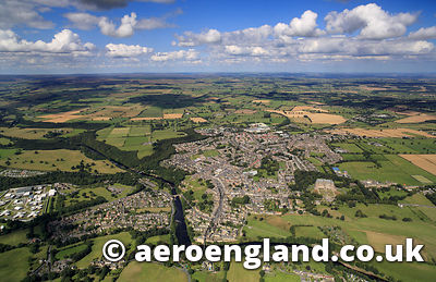aerial photograph of Barnard Castle Teesdale, County Durham  England UK