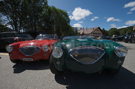 Summer Event of the SMTC Saint Moritz Tobogganing Club Cresta Run with Oldtimer Cars