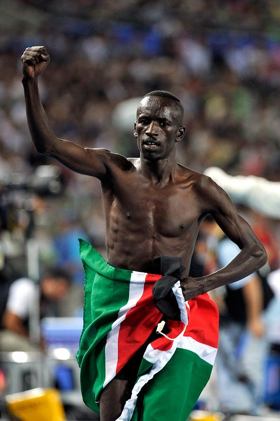Ezekiel Kemboi from Kenya celebrates victory at the 3000m Steeplechase at the 2011 IAAF World Championships,Athletics,Daegu,S...