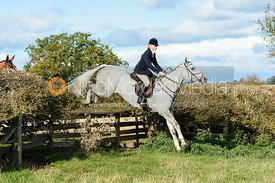 Amanda Eastwood jumping a fence at Gartree. Quorn Hunt Opening Meet 2018