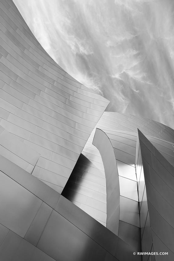 WALT DISNEY CONCERT HALL CONTEMPORARY ARCHITECTURE LOS ANGELES BLACK AND WHITE VERTICAL