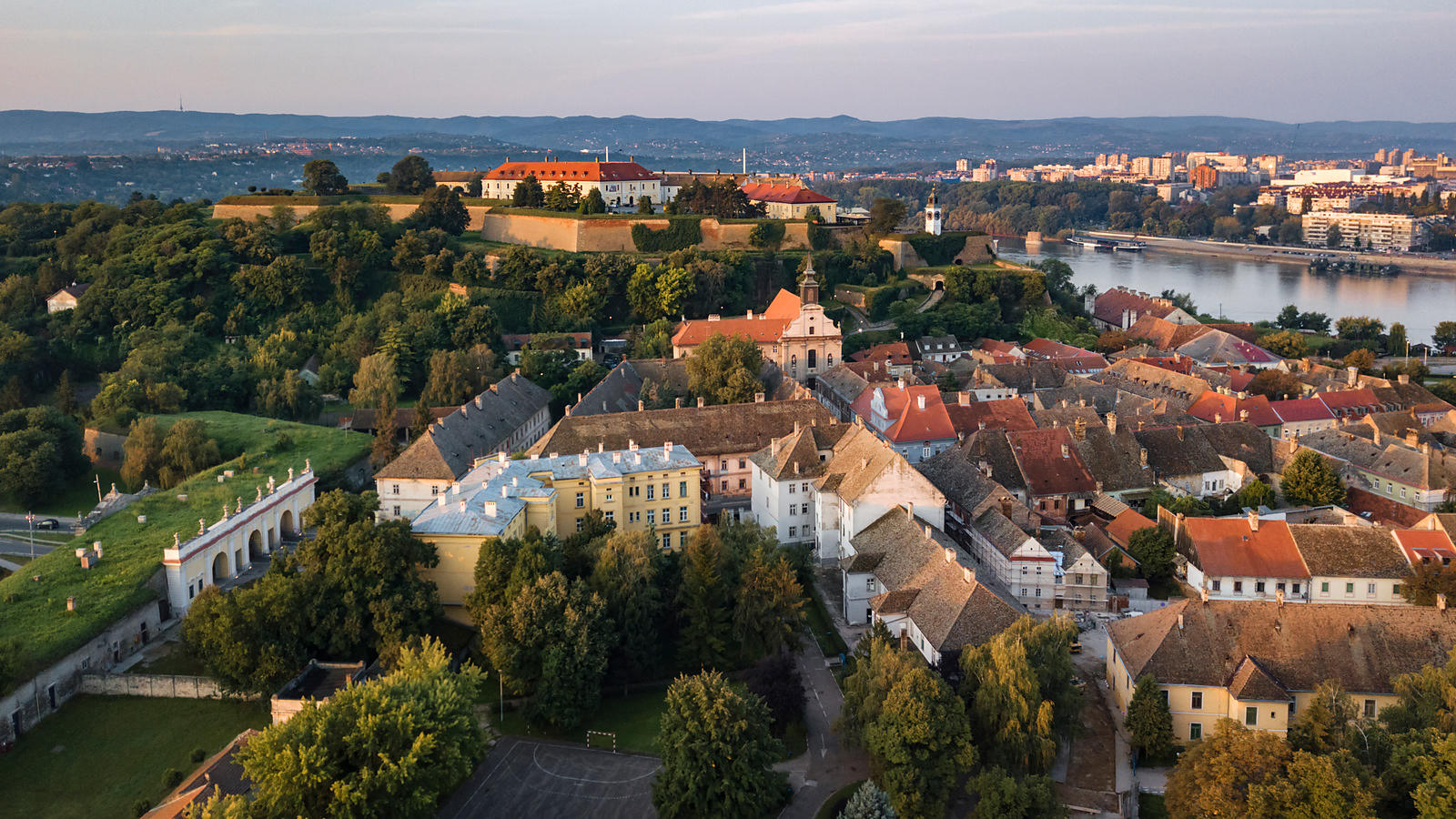Elevated View of the Petrovaradin Fortress at Dawn