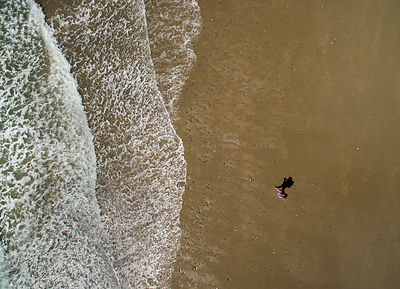 Aerial view  of a walker on beach, Abersoch, Gwynedd, Wales, UK, May