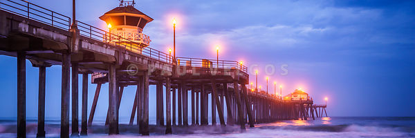 Huntington Pier Stormy Morning Panorama Photo