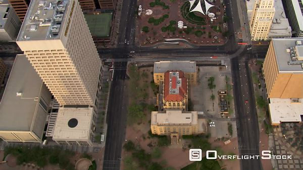 Flight over Phoenix skyscrapers and other downtown elements.