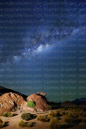 Eroded volcanic rock formations and Milky Way Galactic Centre, Nor Lípez Province, Bolivia