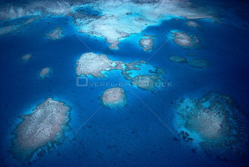 Aerial view of fringing coral reefs, Palau Islands, Micronesia.