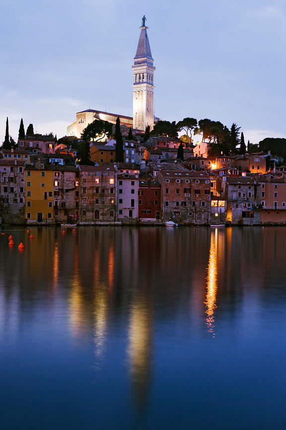 The Town of Rovinj at Sunset, Istria, Croatia