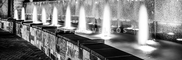 Charlotte Fountain Black and White Panorama Photo