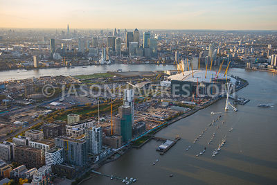 Aerial view of Greenwich Peninsula and the O2, London.
