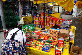 Stall selling paneton and biscuits in street market , La Paz , Bolivia