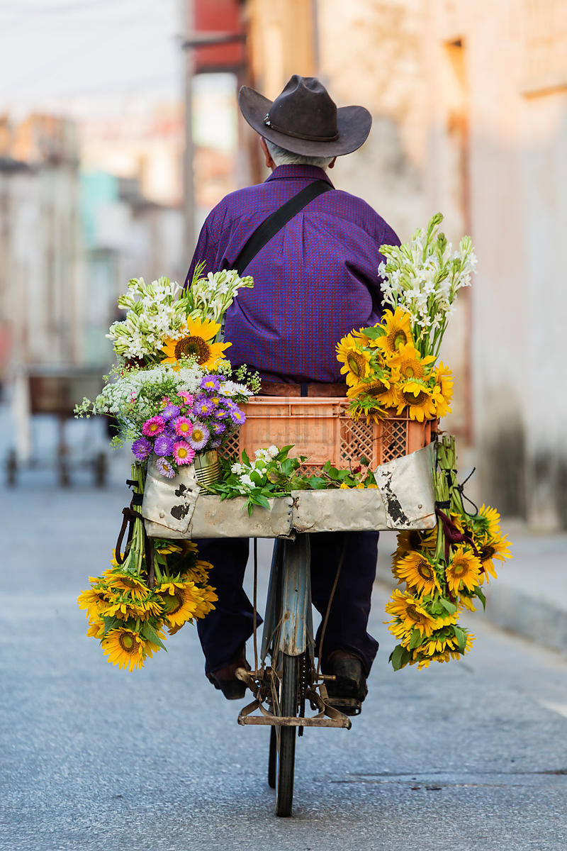 Portrait of a Flower Seller on a Bicycle