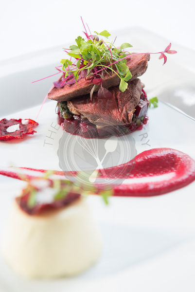 Beetroot and beef stacked