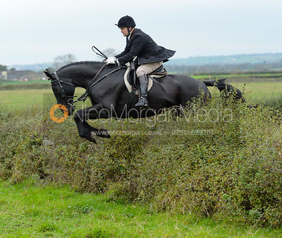 Jeremy Dale jumping a hedge at Sheepwash