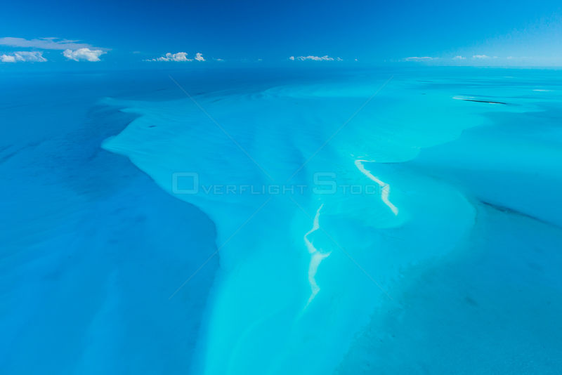 Aerial image showing sandbanks in the Bahamas archipelago, Caribbean, February 2012