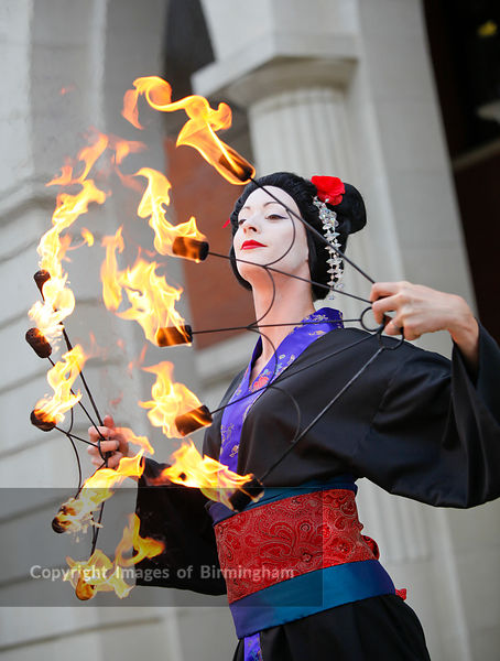 Brindleyplace fire eater, Birmingham, West Midlands.