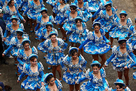 Female Caporales dancers from above at Oruro Carnival, Bolivia