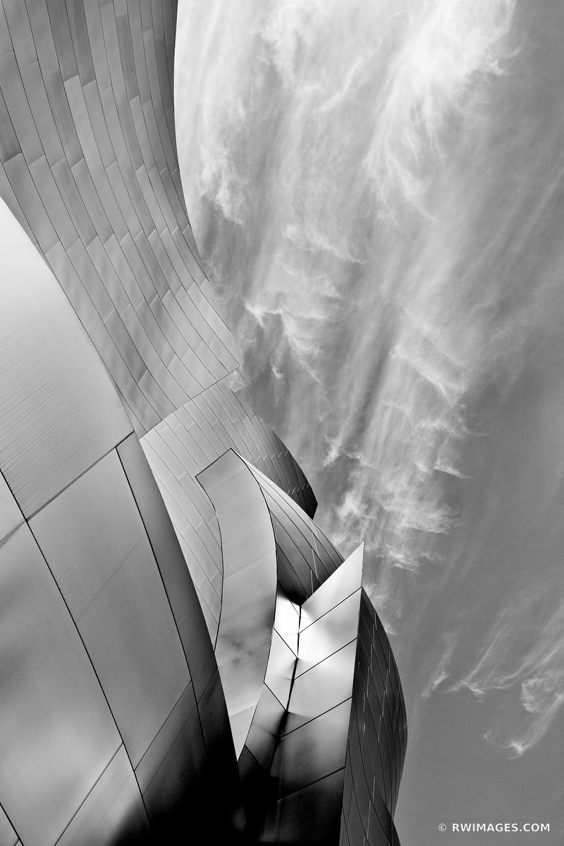 Walt disney concert hall downtown los angeles contemporary architecture black and white vertical