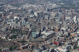 Central Manchester looking from Beetham Tower and the Manchester Central Convention Complex towards Spinningfields and Victor...