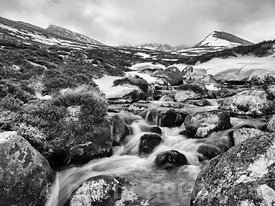 Meltwater stream tumbling down from the Cairngorm Plateau, Cairngorms National Park, Highlands, Scotland, winter